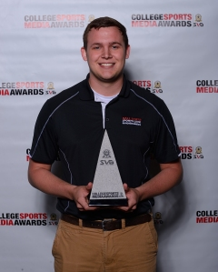 Tyler Bradfield (pictured), along with classmates Tim Reusche and Nick Panozzo, won Sports Link's fifth straight College Sports Media Award in features.