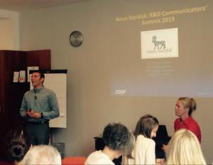 Ball State student-athlete Tanner Barton presenting to Novo Nordisk employees in Copenhagen, Denmark.