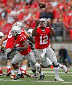 Ohio State Buckeyes quarterback Cardale Jones (12) can't handle the snap against Northern Illinois Huskies during the 1st quarter of their game at Ohio Stadium on September 19, 2015.
