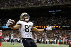 NEW ORLEANS, LA - SEPTEMBER 20: Willie Snead #83 of the New Orleans Saints celebrates a touchdown during the fourth quarter of a game against the Tampa Bay Buccaneers at the Mercedes-Benz Superdome on September 20, 2015 in New Orleans, Louisiana. (Photo by Wesley Hitt/Getty Images)