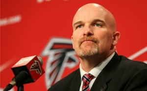 during a press conference at the Atlanta Falcons Training Facility on February 3, 2015 in Flowery Branch, Georgia.