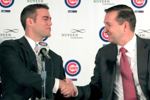 Former Boston Red Sox general manager Theo Epstein, left, shakes hands with Chicago Cubs owner Tom Ricketts after Epstein was introduced as the new president for baseball operations for the Cubs during a baseball news conference, Tuesday, Oct. 25, 2011, in Chicago. (AP Photo/Charles Rex Arbogast)