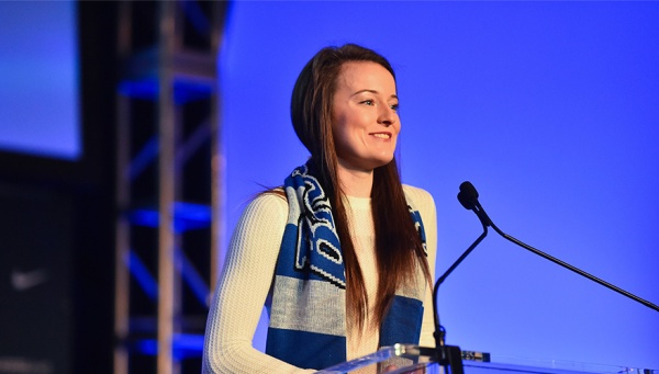 Rose Lavelle gives her condolences to all of those who helped her along the way after being named the #1 2017 National Women's Soccer League Draft pick.
