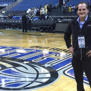 One of 41 road games in the NBA, Sothman in Orlando prior to a Pacers game.