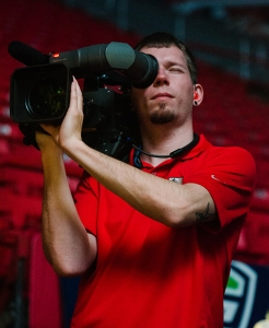 Me on a handheld camera shooting the open for the MAC Gymnastics Championship.