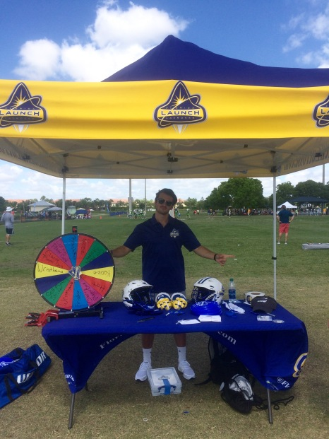 Working the Launch tent at the Florida LAX Classic